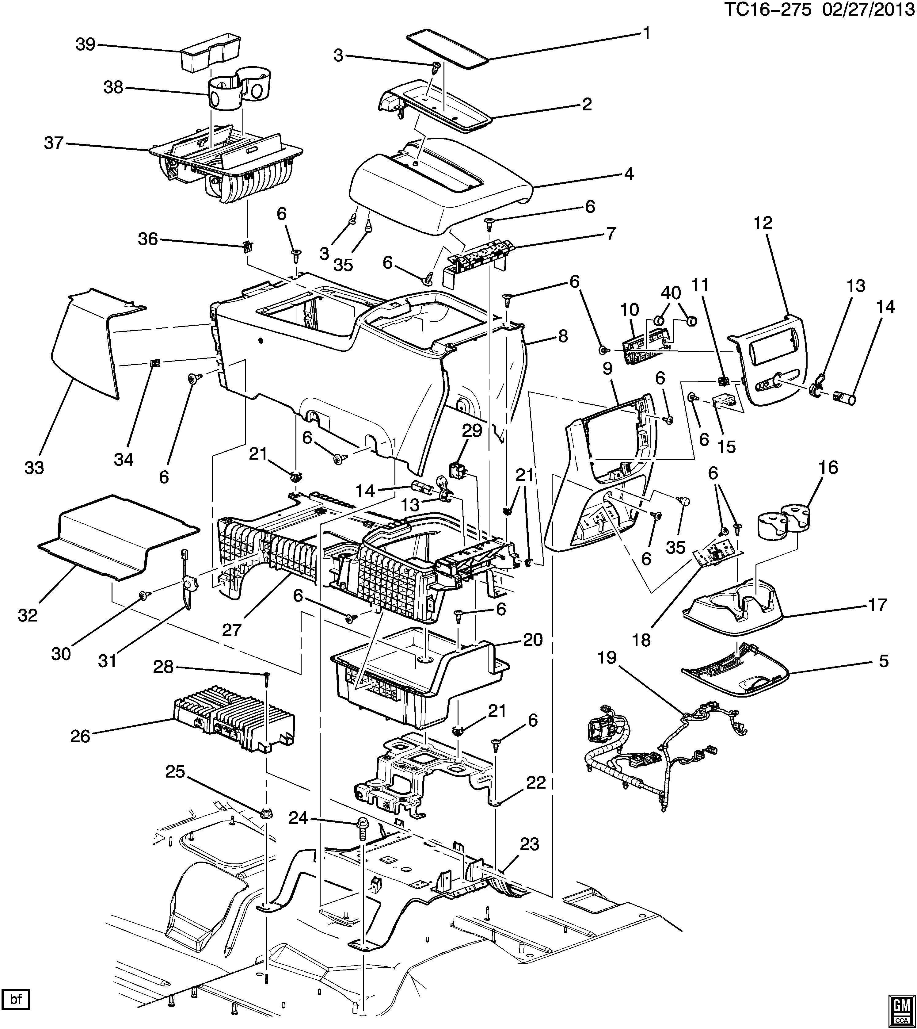 Chevrolet Tahoe Ashtray. Floor console. Seat separator