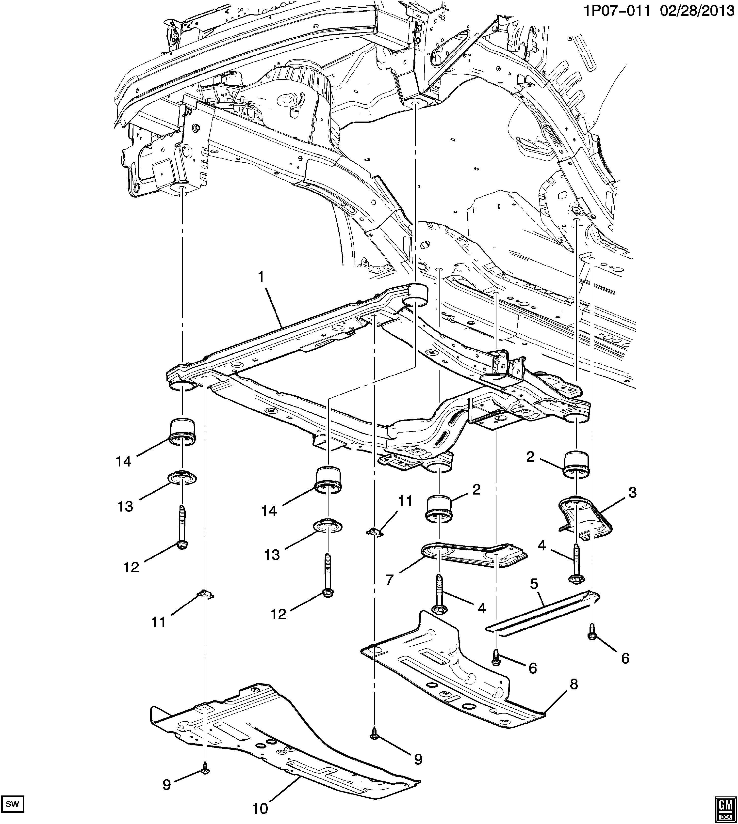 Chevrolet Cruze Frame Chassis Frame Drivetrain Amp Frt