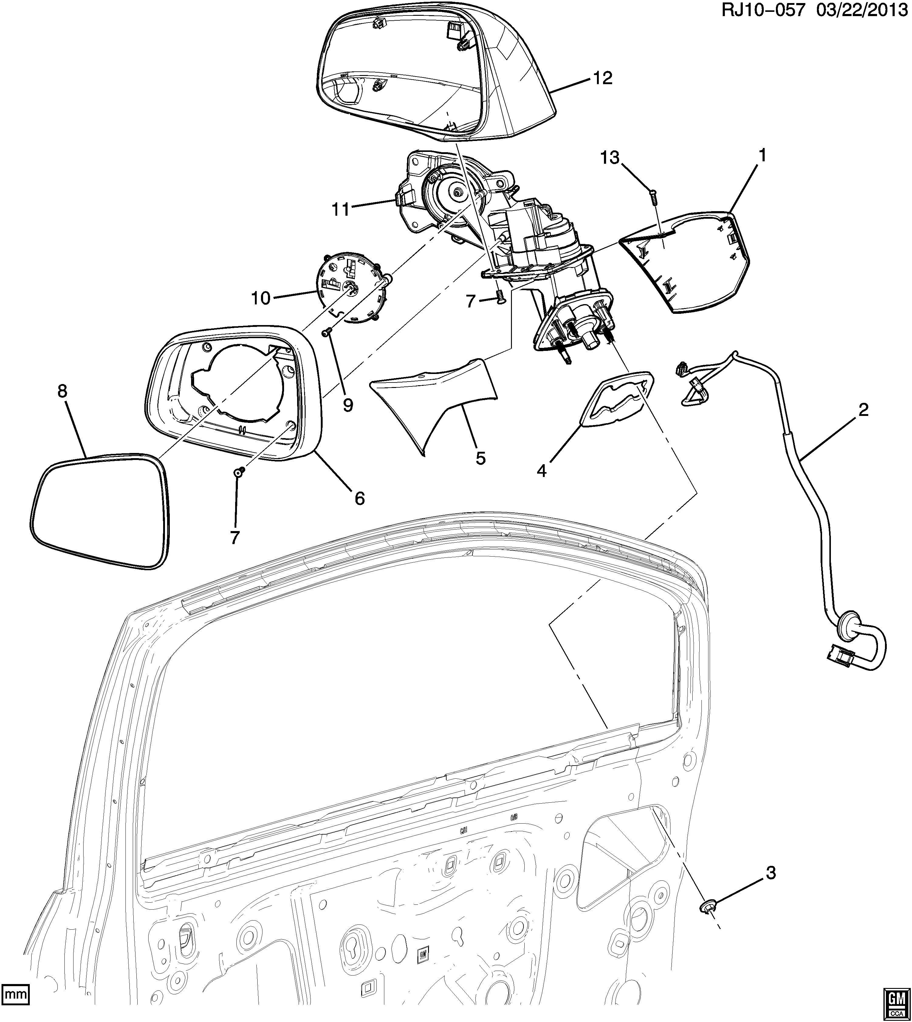 Chevrolet Trax Glass. Inside/outside rear view. Glass, o/s