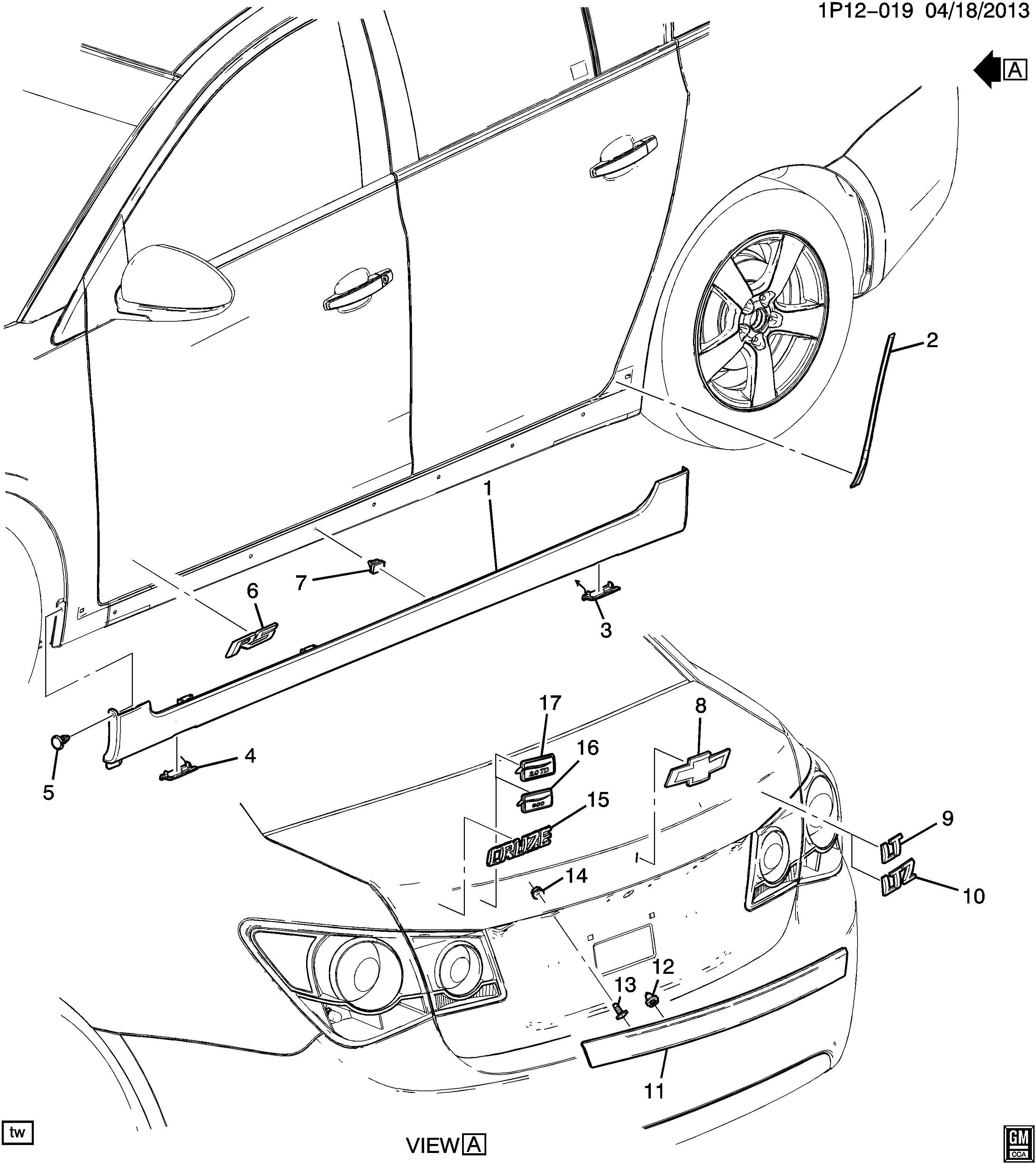 2014 Chevrolet Cruze Protector. Rocker panel. Protector