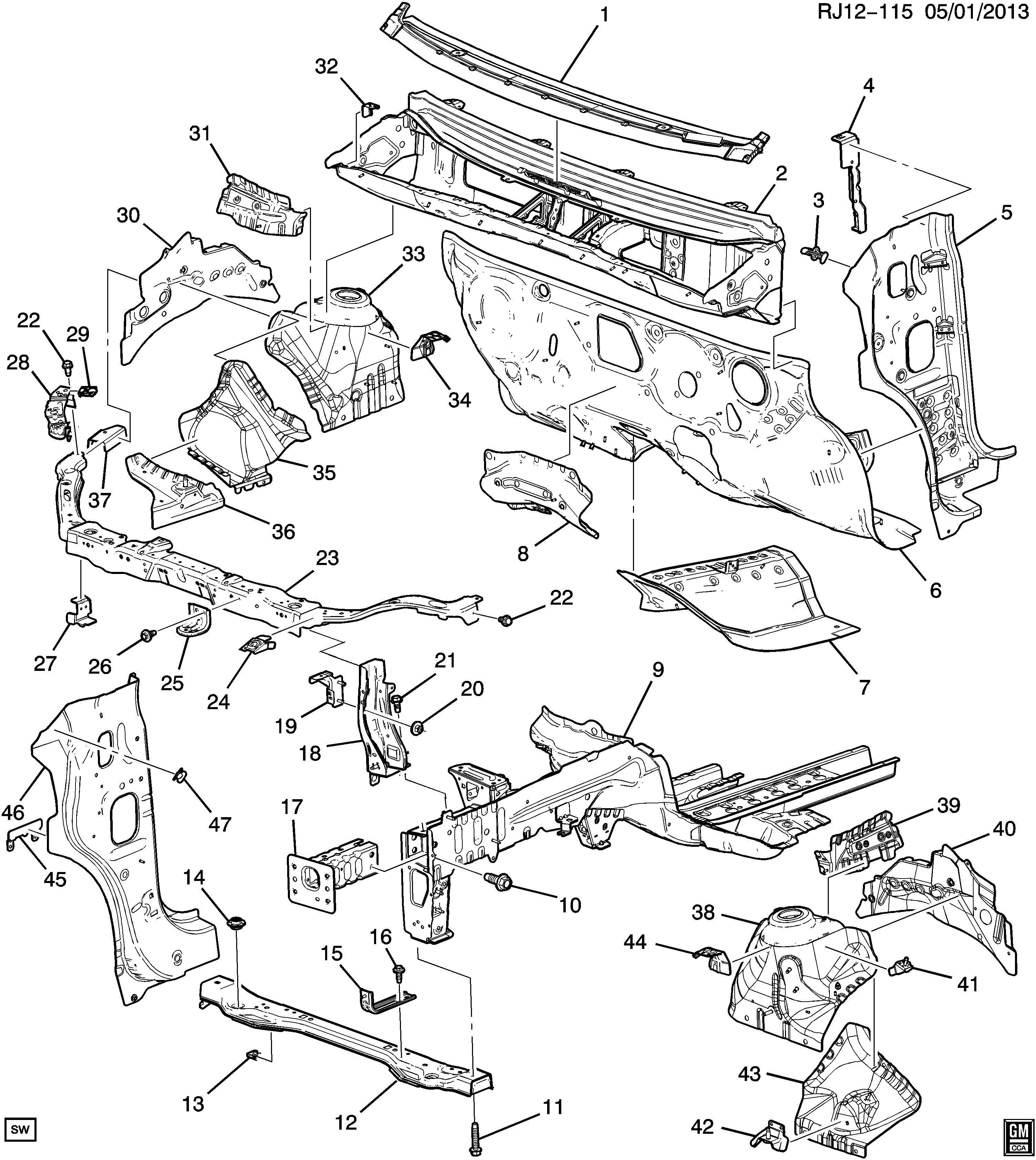 Chevrolet Trax Absorber. Bumper/fascia energy absorber