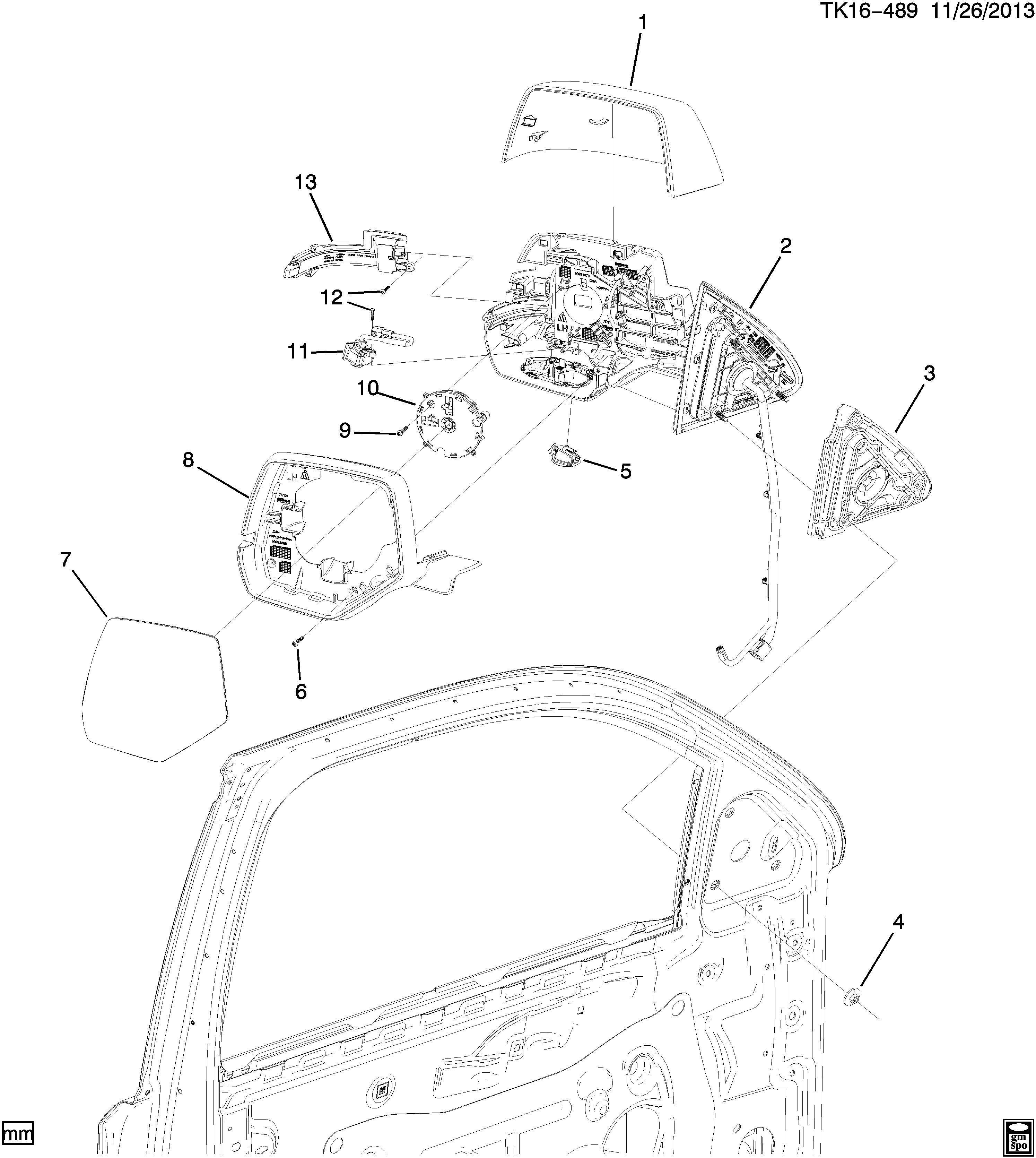 Chevrolet Tahoe Actuator. Rear view mirror. Actuator, o/s