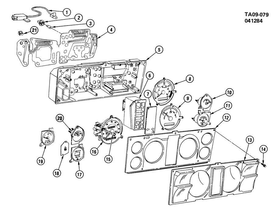 Chevrolet S10 Instrument Cluster. CIRCUIT. PRINTED CIRCUIT