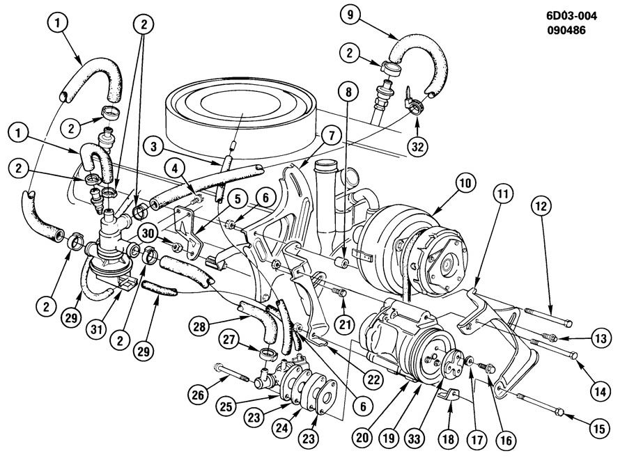 1988 Cadillac Deville A.I.R. SYSTEM & VACUUM PUMP MOUNTING