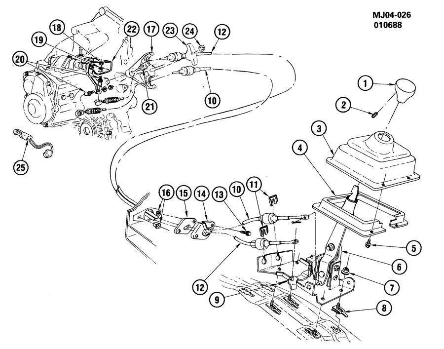 Chevrolet Cavalier Cable. Transmission control cable