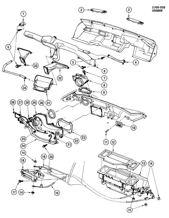 Chevrolet S10 Housing. Air flow control. Outside air