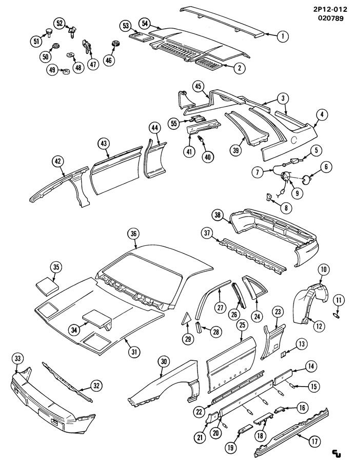 Pontiac Fiero Panel. Front fender. Panel, f/fdr(drill as