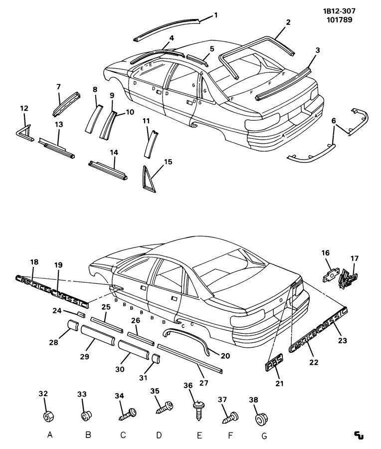 Chevrolet Caprice MOLDINGS/BODY