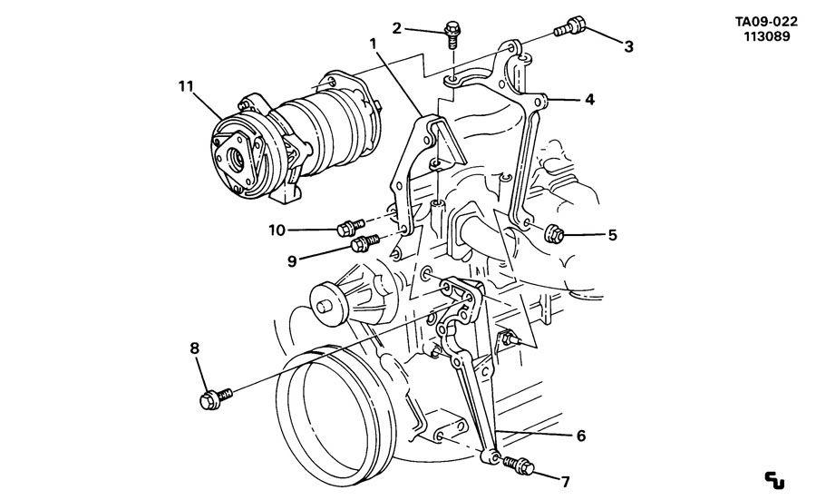 Chevrolet S10 Bracket. Air conditioning (a/c) compressor