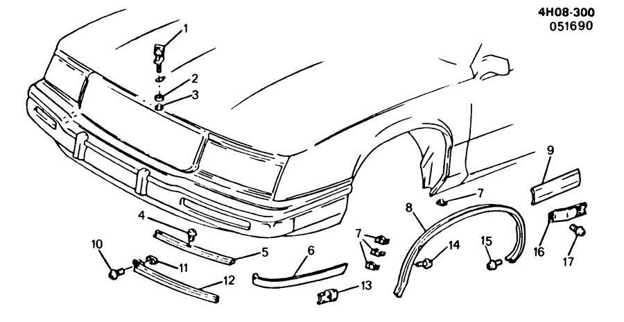 1991 Buick Lesabre LIMITED 4DR Molding kit. Front fender