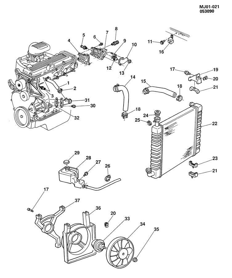 1990 Chevrolet Cavalier ENGINE COOLING SYSTEM-2.2L L4