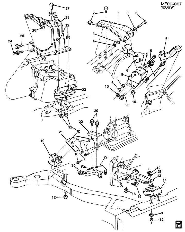 Service manual [1991 Buick Reatta Engine Mount Removal