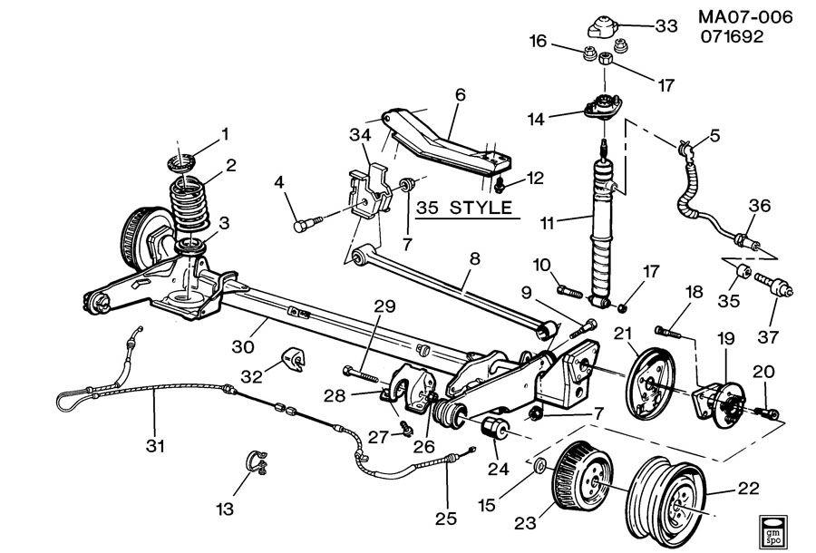 2001 Pontiac Bonneville Rear Suspension Parts Diagram