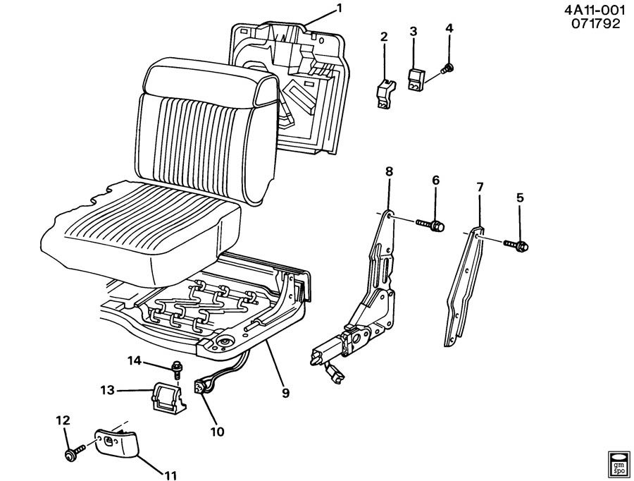 Buick Century Frame. Front seat cushion. Accept, attch