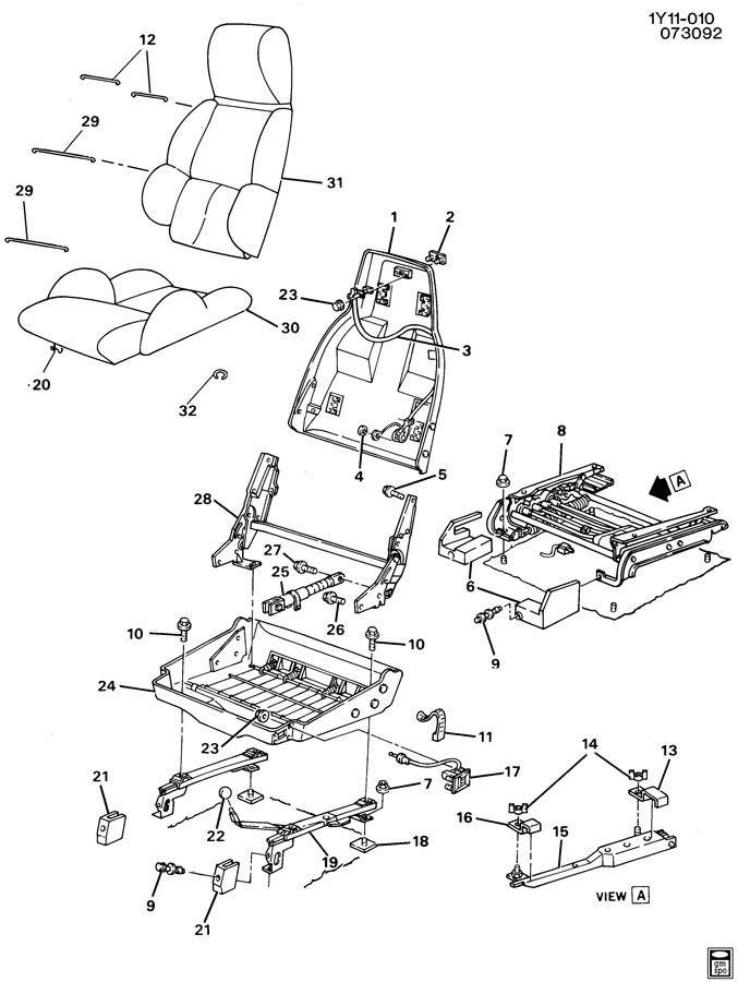 Chevrolet Corvette Adjuster. Manual, driver seat. Manual