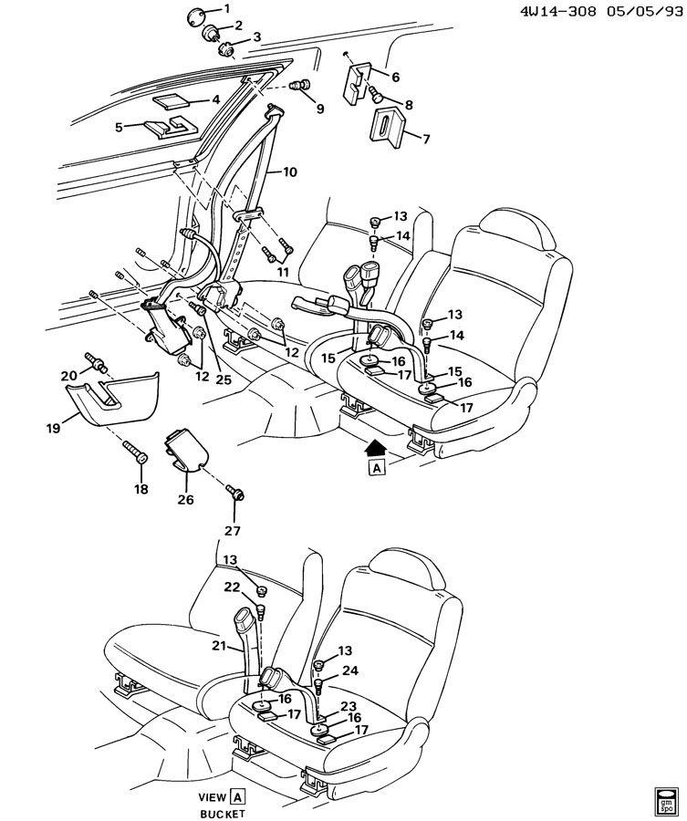Buick Regal Belt kit. Seat belt. Belt kit, p/seat(retr si