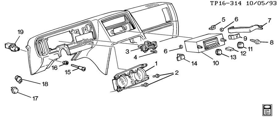Chevrolet P30 Knob. Radio control. Amfm, wcass, cassette
