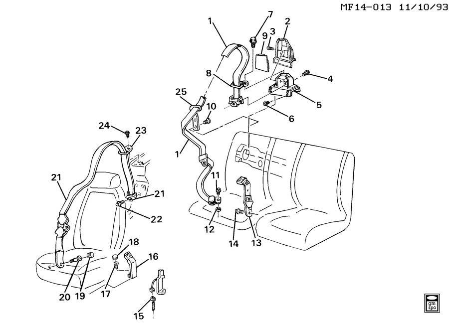 Pontiac Firebird Guide. Seat belt. Guide, r/seat belt