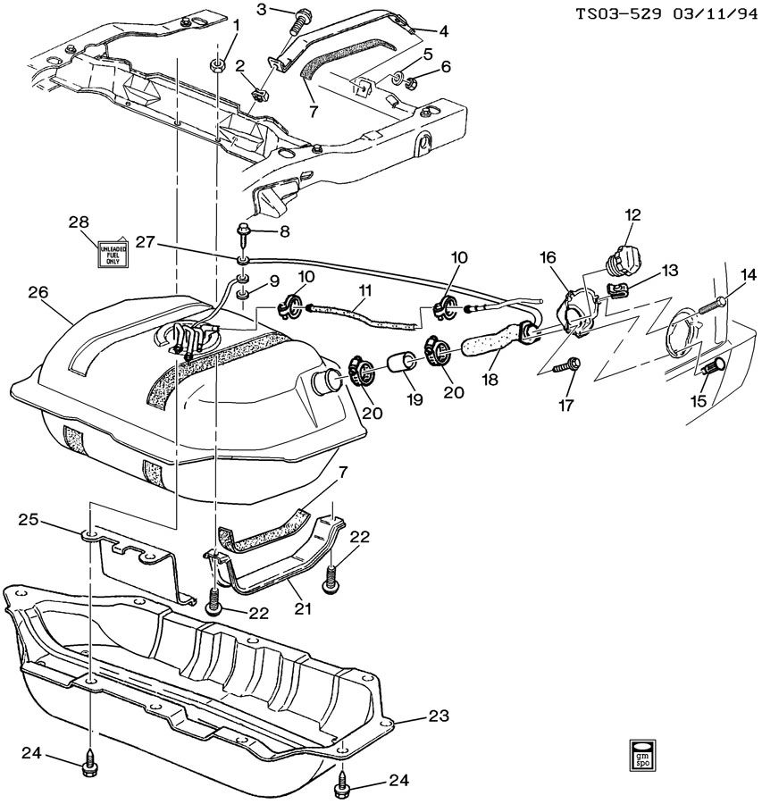 Chevrolet S10 Fuel Tank. BRACKET. SUPPORT. SUPPORT, F/TNK