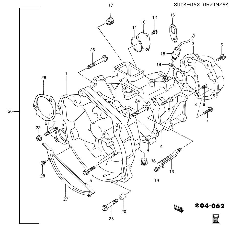 Chevrolet Sprint 5-SPEED MANUAL TRANSAXLE CASE