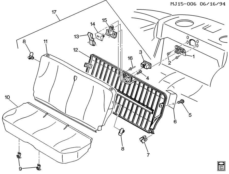 2002 Pontiac Sunfire Seat Cushion Pad Clip (Rear). W