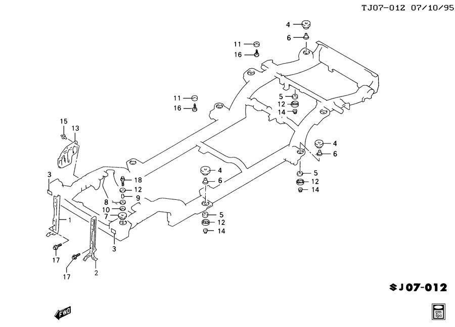 Geo Tracker Retainer. Body to frame. Convertible top cover