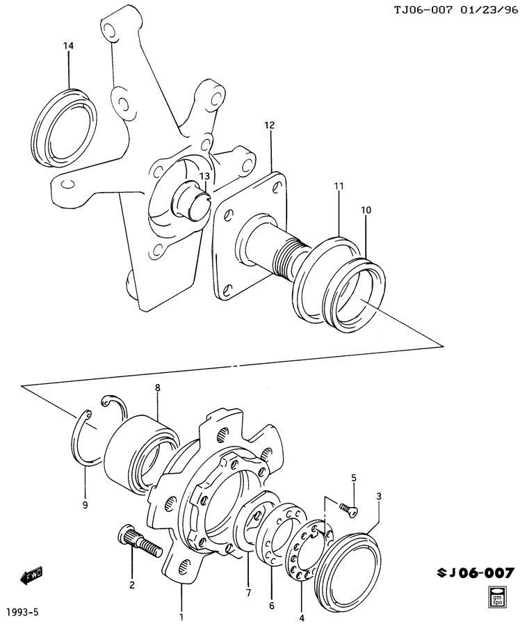 Chevrolet Tracker Front Wheel Bearing. RETAINER. RING
