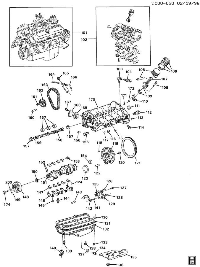 Chevrolet C1500 ENGINE ASM-5.0/5.7L V8 PART 1 BLOCK