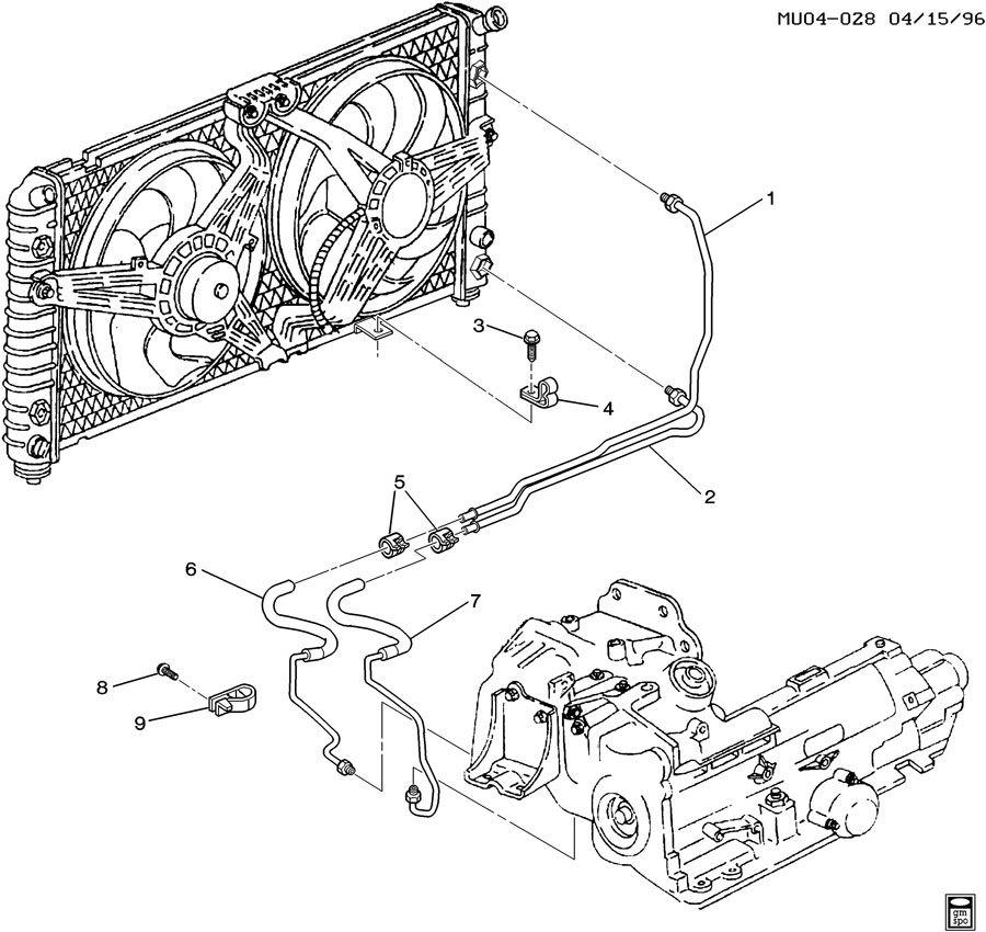 1998 Geo Clip. Transmission oil cooler. Hoseholds