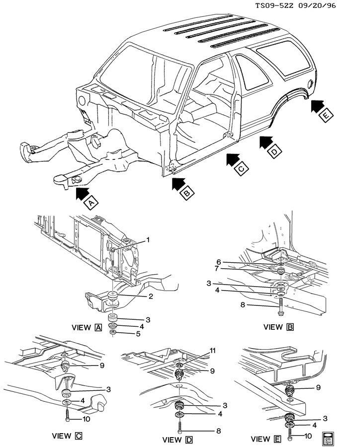 2001 Chevrolet BLAZER Radiator Grommet (Upper). Upper, 2nd