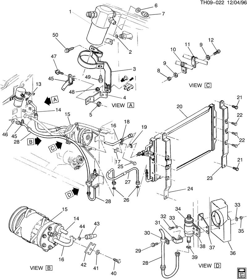 GMC C6500 Hose. Air conditioning (a/c) compressor and