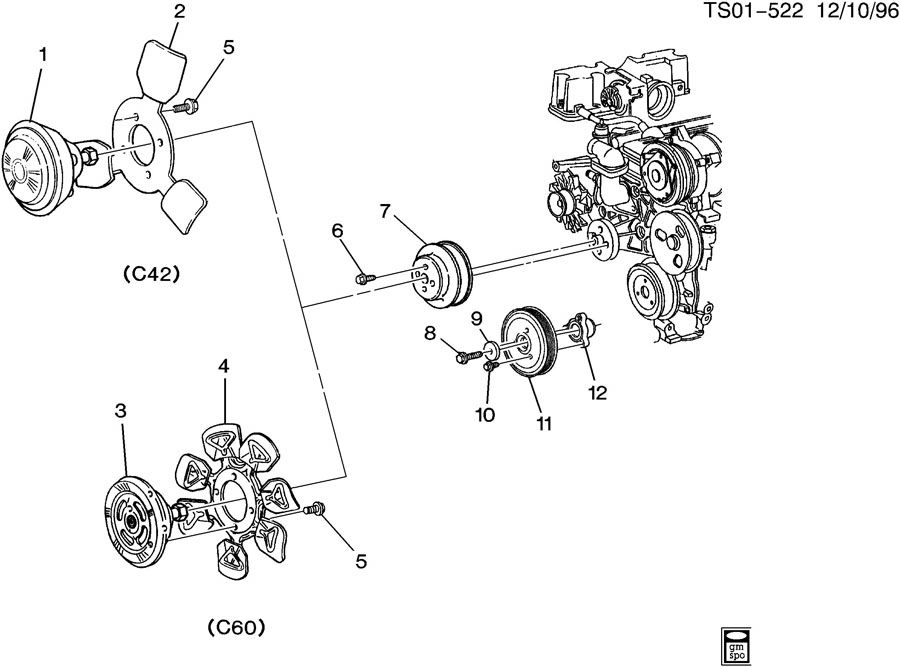 1998 Chevrolet S10 Bolt. Engine crankshaft pulley and