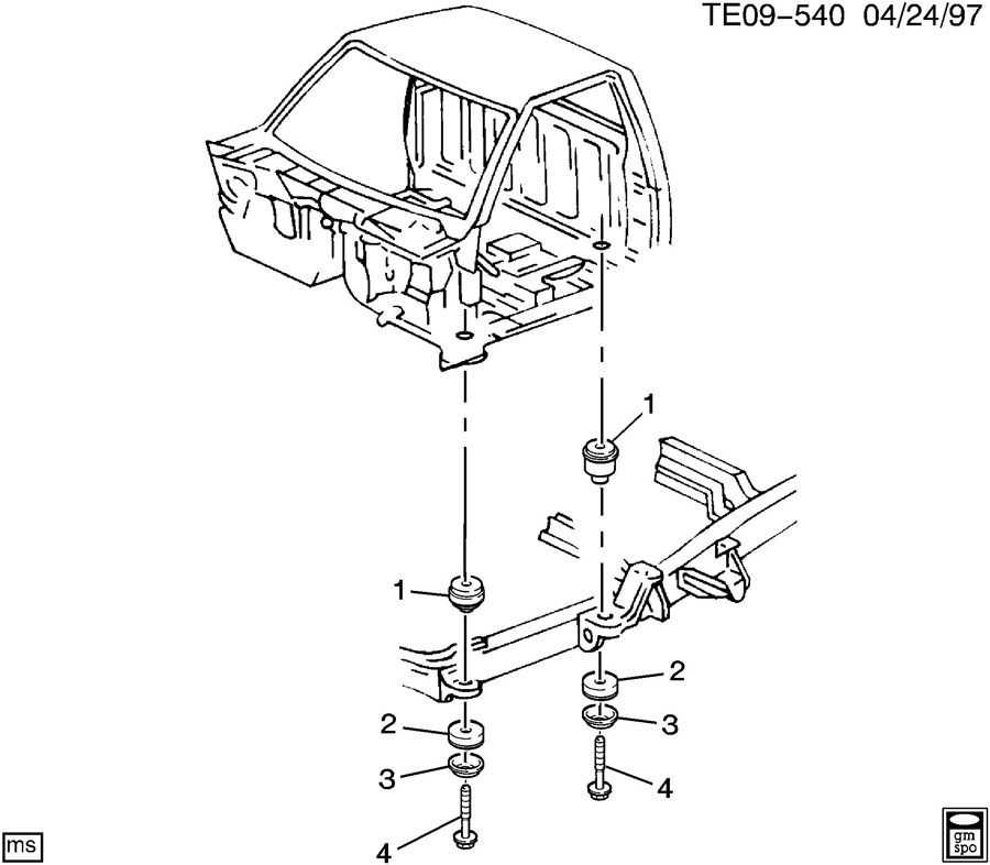 Chevrolet S10 Retainer. Body to frame bolt. Body to frame