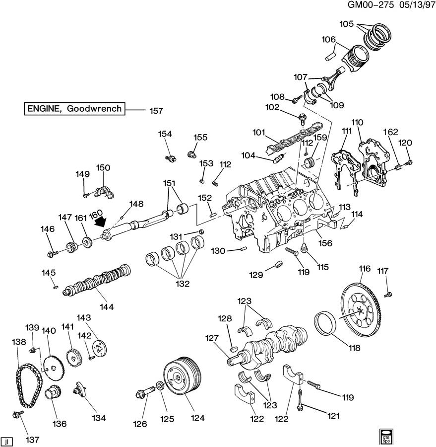 Pontiac Fiero Pin. Engine clutch housing or transmission
