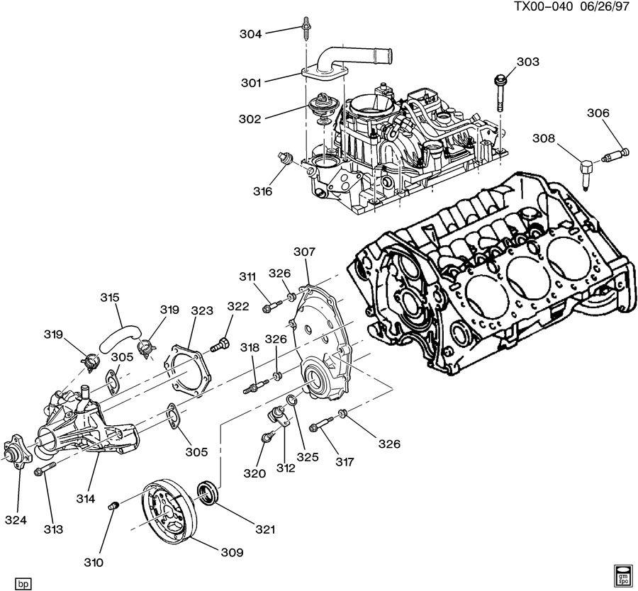 2000 Chevrolet S10 Bolt. Engine front cover. Bolt, eng frt