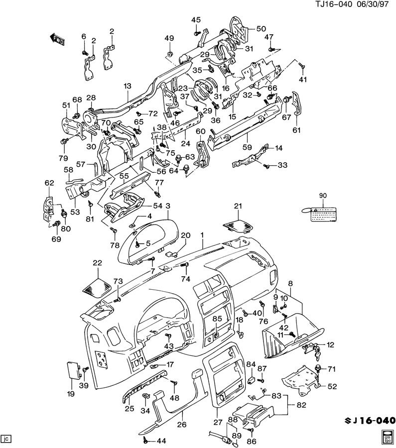 Geo Tracker INSTRUMENT PANEL & RELATED PARTS
