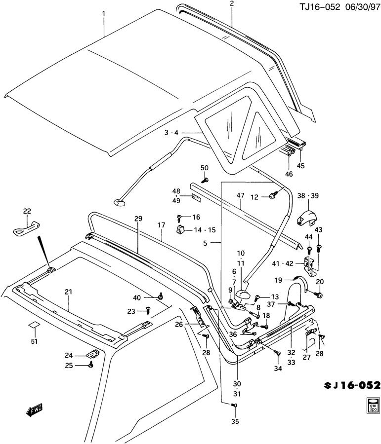 1996 Geo Tracker Fastener. Roof panel. Fastener, f/top cvr