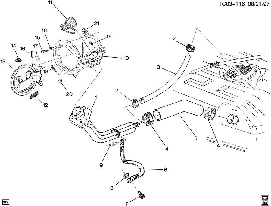 Chevrolet Tahoe Fuel Filler Neck (Lower). Filler. Fuel