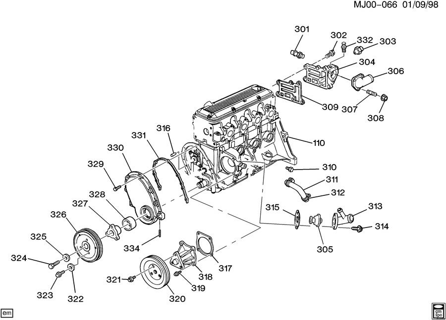 Chevrolet Cavalier Thermostat. Gasket. Engine. Seal