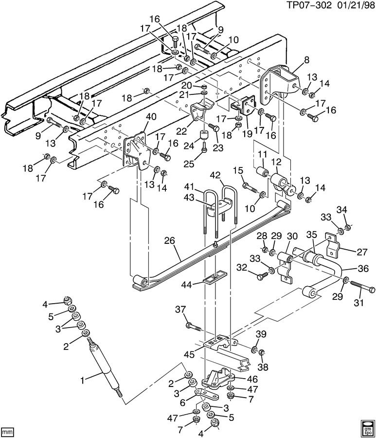 Chevrolet P30 Bolt/SCREW. BOLTPLATESEATSPACER, LEAR
