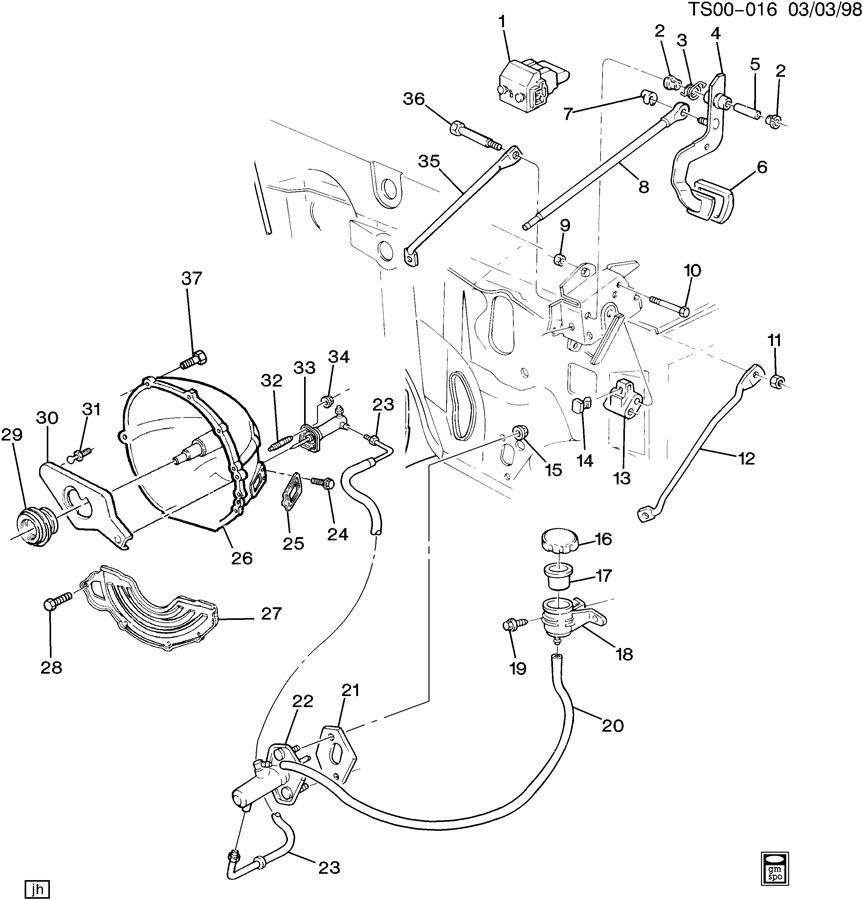 Chevrolet S10 Reservoir. Hydraulic clutch reservoir