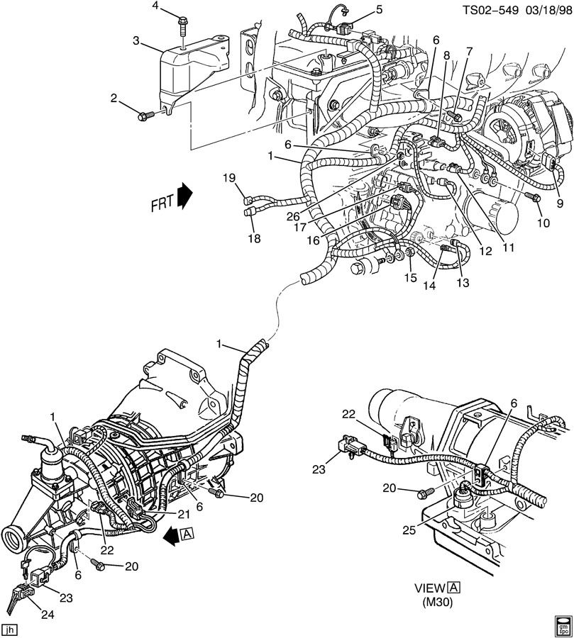 Chevrolet S10 Bracket. Chassis/engine wiring harness