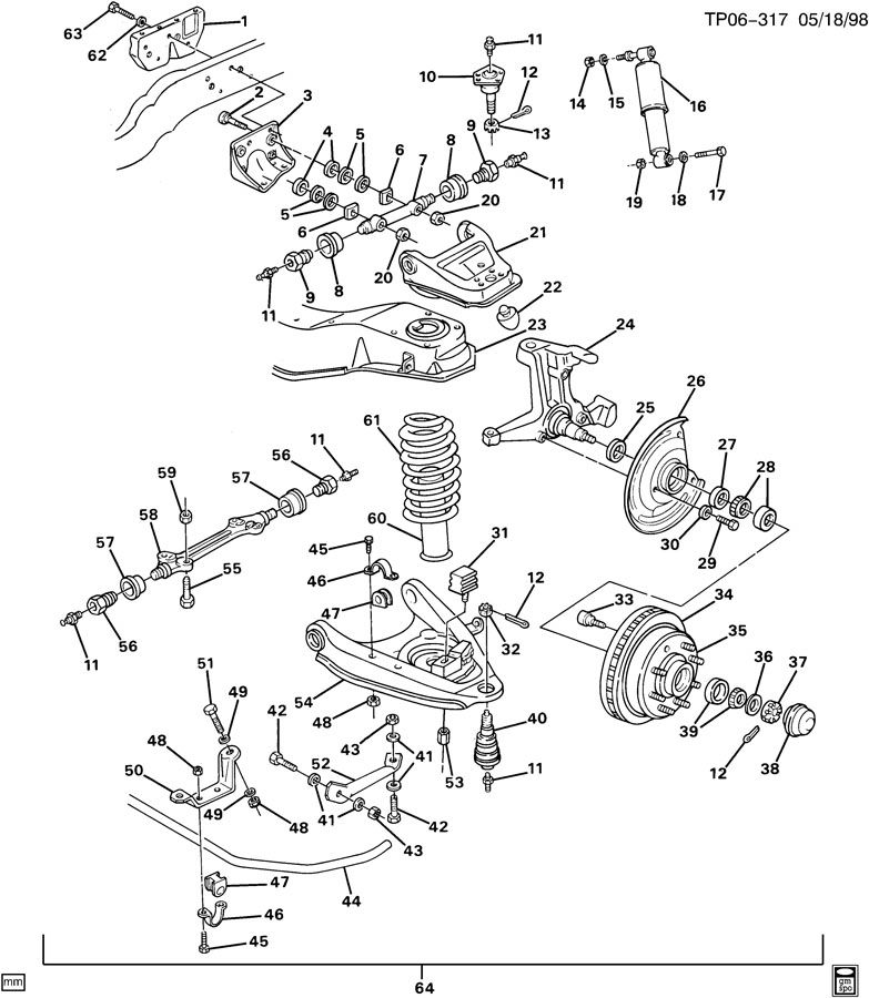 1991 Chevrolet P30 Spring. Front. Front chassis. (coil