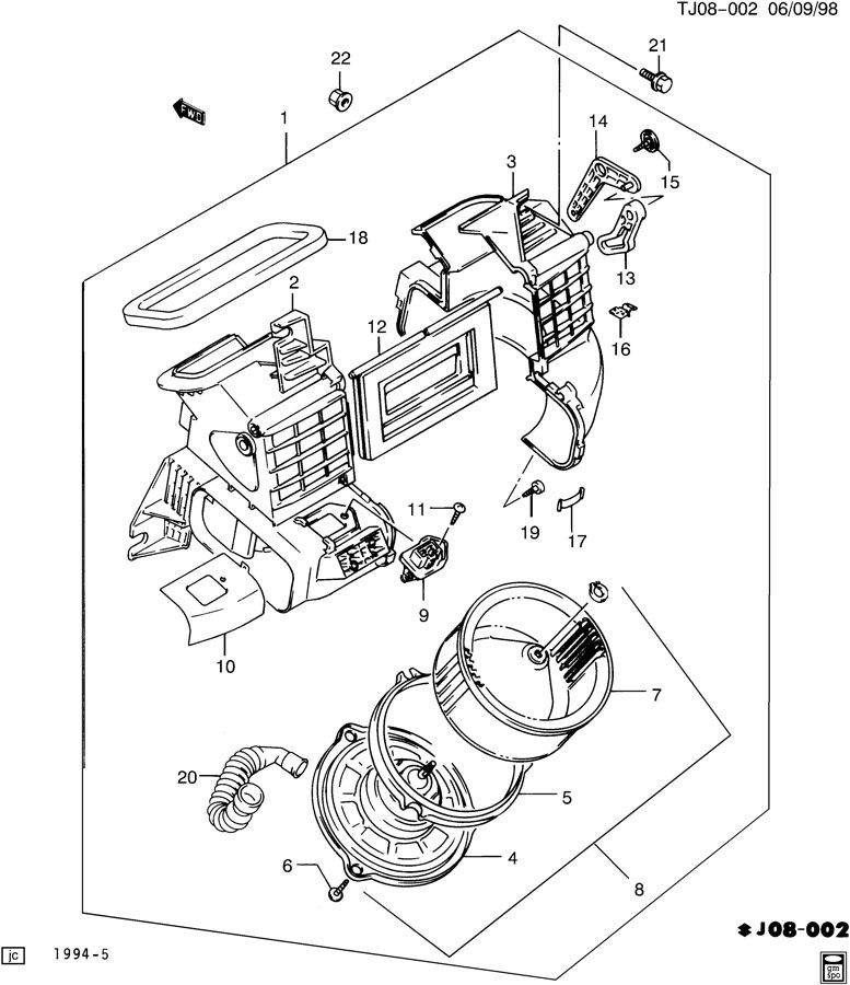 Service manual [1996 Geo Tracker Ac Blower Removal