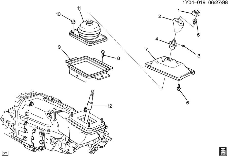 1992 Chevrolet Corvette Handle. Transmission gear shift