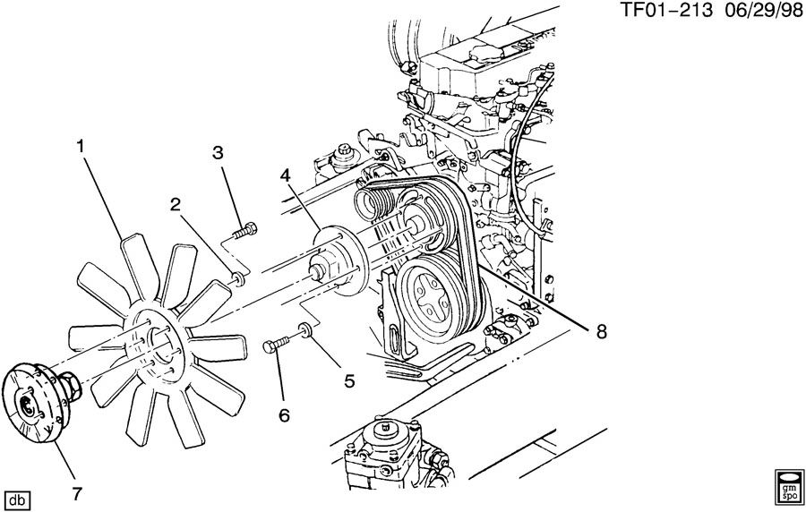Chevrolet T6500 Clutch. Engine air cooling fan. Clutch