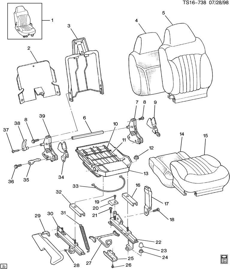 Chevrolet S10 Handle. Seat adjuster/recliner. Wdouble