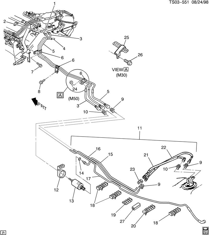 2000 Chevrolet S10 Pipe. Fuel line. Pipe, f/injn fuel rtn