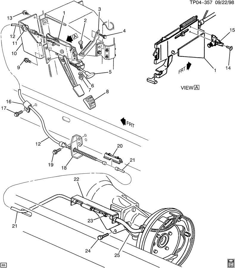 Chevrolet P30 Lever. Parking brake apply. Leverpark, goes
