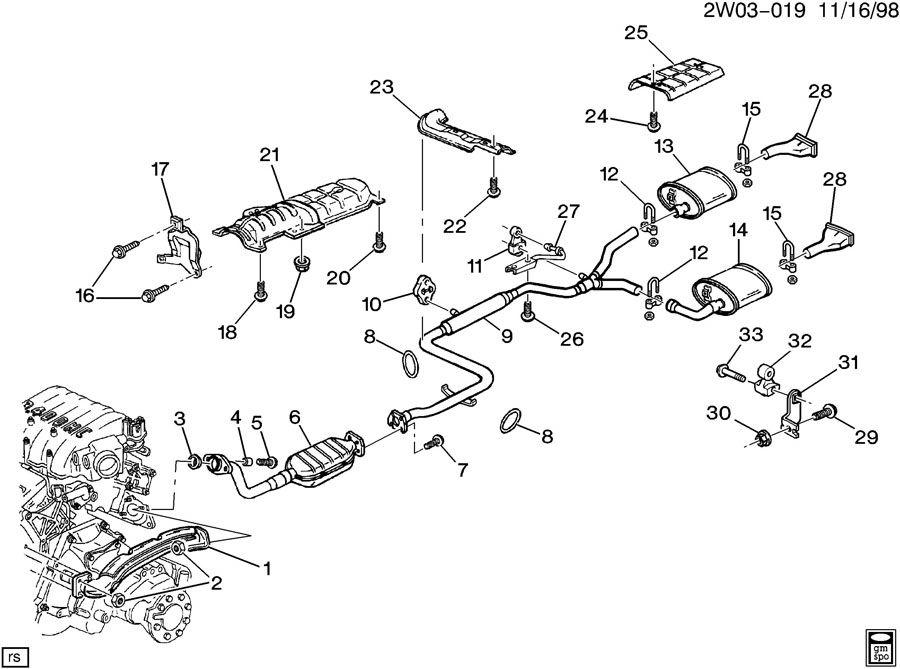 Pontiac Grand Prix Hanger. Catalytic converter. Exhaust